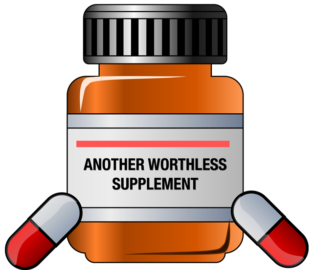Worthless bodybuilding supplement bottle image